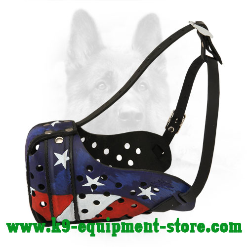 Hand Painted Leather K9 Muzzle with USA Flag Ornament