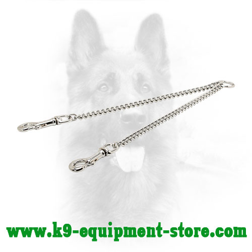 Chrome Plated Chain Coupler for Walking Two Dogs - 1/9 inch (3.0 mm) link diameter