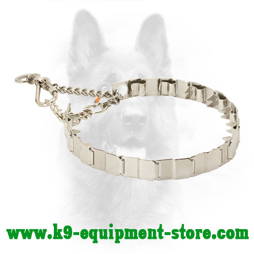 Police Dog Neck Tech Stainless Steel Prong Collar