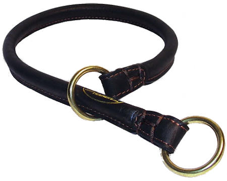 1/2 inch (12 mm) wide Great Rolled Leather Dog Collar/Choke Collar for K9 Dog