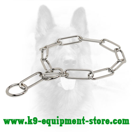 Chrome Plated Chain K9 Choke Collar with Large Links - 1/6 inch (4 mm) link diameter
