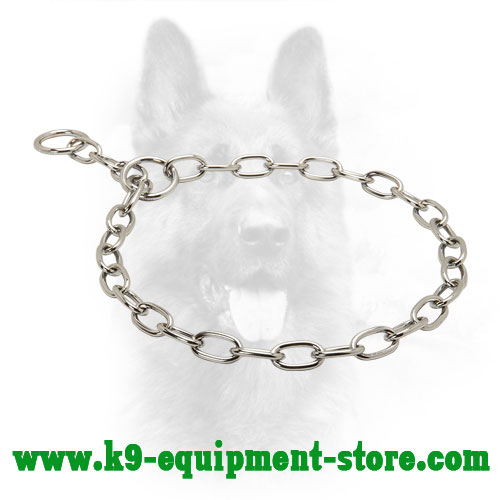Chrome Plated K9 Choke Collar with Medium Chain Links - 1/10 inch (3,2 mm) link diameter