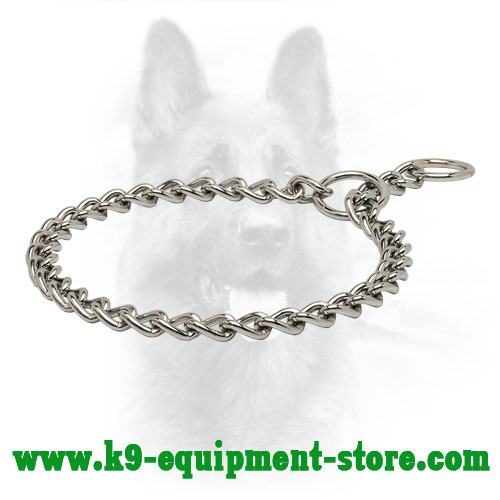 Chrome Plated Chain K9 Collar with Small Links - 1/7 inch (3,5 mm) link diameter