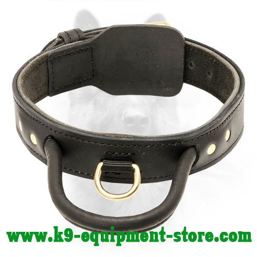 Dog Training Leather Collar With Handle For Canine Dogs