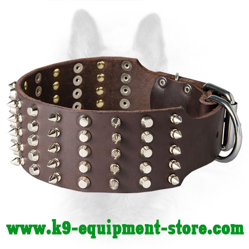 Stunning 3 Rows Spiked And Studded Canine Leather Collar