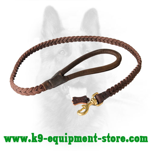 Braided Round Leather Police Dog Lead
