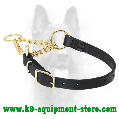Smart Control K9 Martingale Collar Made of Brass and Leather - 1/ 5 inch (4 mm) link diameter