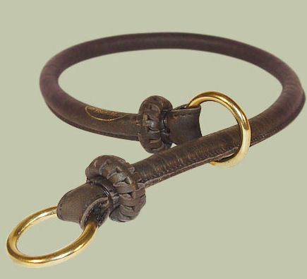 Round Leather Slip Collar-Rolled Choke Collar for K-9 dogs
