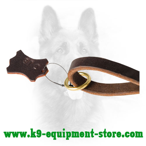 Brass Floating Ring of Leather K9 Pull Tab Leash