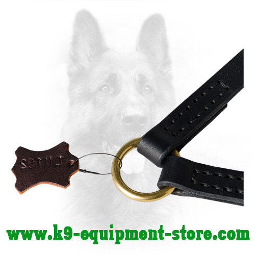 Rust Resisant Attachment Brass Ring of Leather Dog Coupler