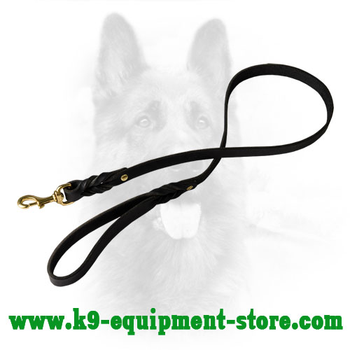 Natural Leather Dog Lead with Braided Decorative Ends