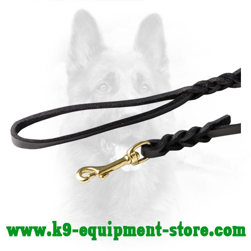 K9 Leather Dog Lead with Brass Snap Hook