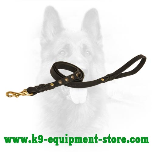 Studded Near The Handle Leather K9 Dog Leash
