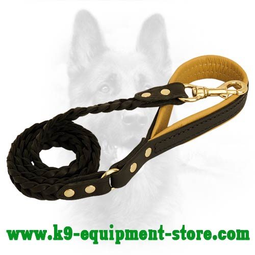 Fixed With Rivets K9 Leather Dog Leash