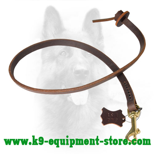 Police Dog Leash Leather with Circle-Shape Handle