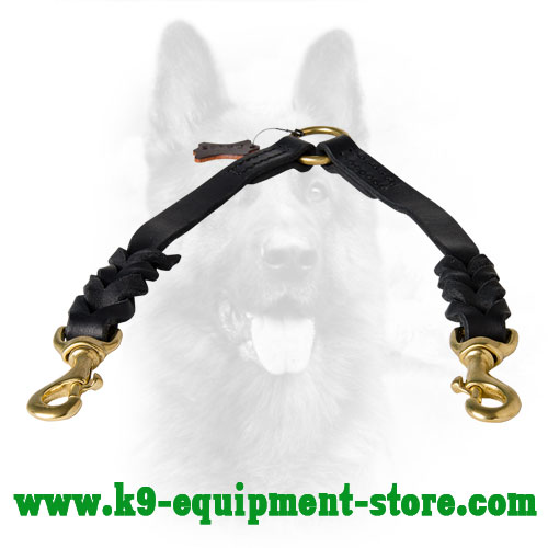 Canine Leather Dog Coupler with Braided Decorations