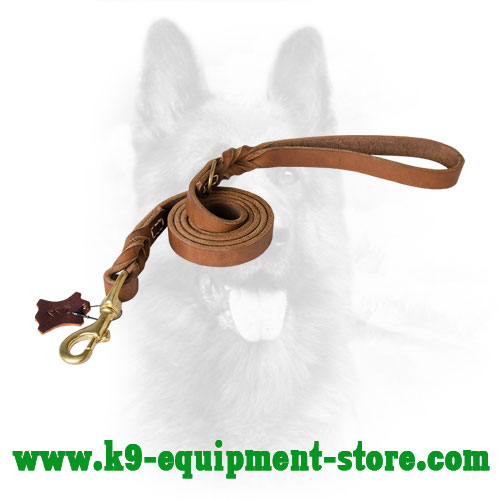 Braided K9 Leather Leash for Easy Dog Handling
