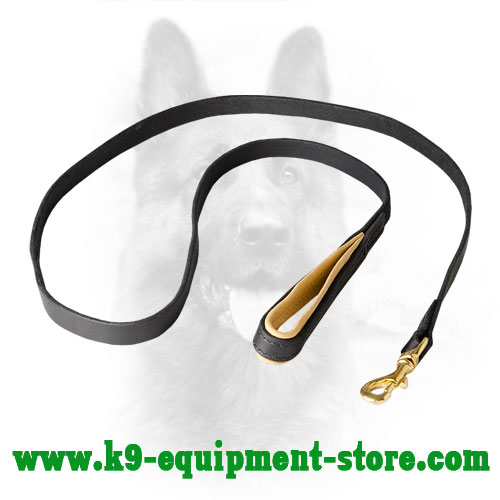 Police Dog Leash with Nappa Leather on Handle