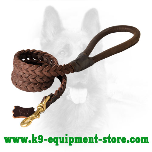 K9 Leather Dog Leash with Rust-proof Hardware