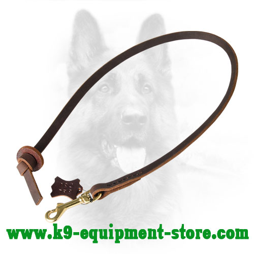 Leather Leash for Police Dog with Massive Snap Hook