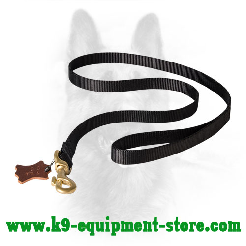 Nylon Leash for K9 Dog with Massive Brass Snap Hook
