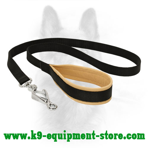 Nylon Leash for Police Dog with Massive Nickel Snap Hook