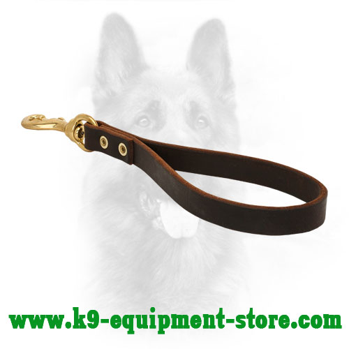 Police Dog Short Leather Leash with Rust Resistant Hardware