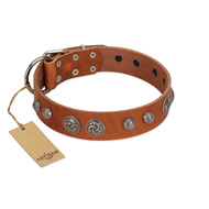 """Era Infinitum"" FDT Artisan Tan Leather dog Collar Adorned with Chrome-plated Circles"