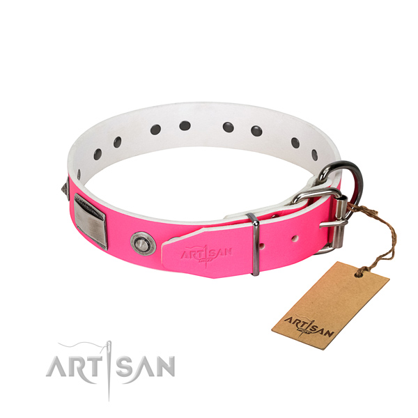 Trendy full grain genuine leather collar with embellishments for your doggie