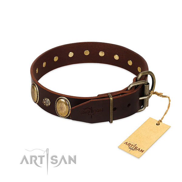 Comfortable wearing high quality full grain leather dog collar