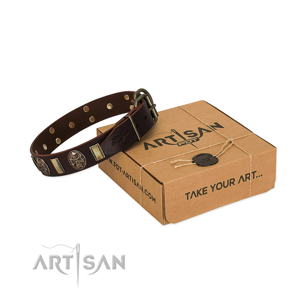 Adorned natural genuine leather collar for your impressive four-legged friend