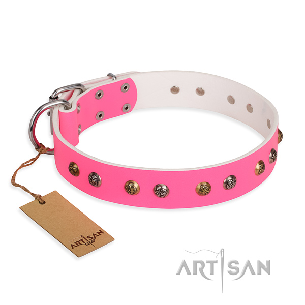 Easy wearing inimitable dog collar with rust-proof traditional buckle
