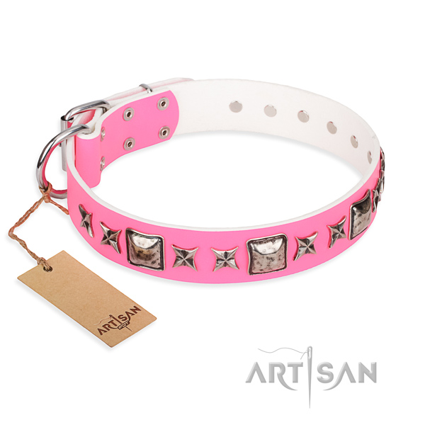Full grain leather dog collar made of flexible material with rust-proof fittings