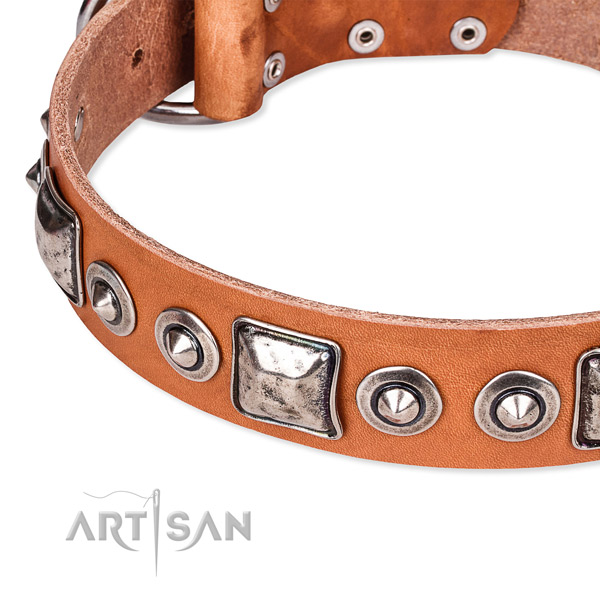 Top notch natural genuine leather dog collar handcrafted for your attractive doggie