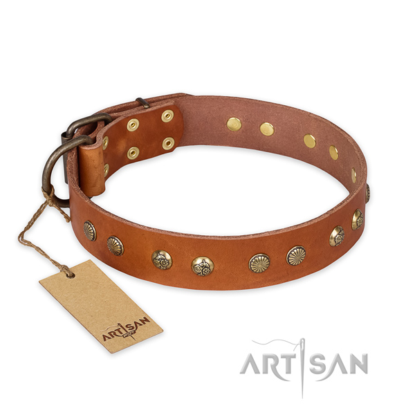 Stylish full grain leather dog collar with rust resistant D-ring