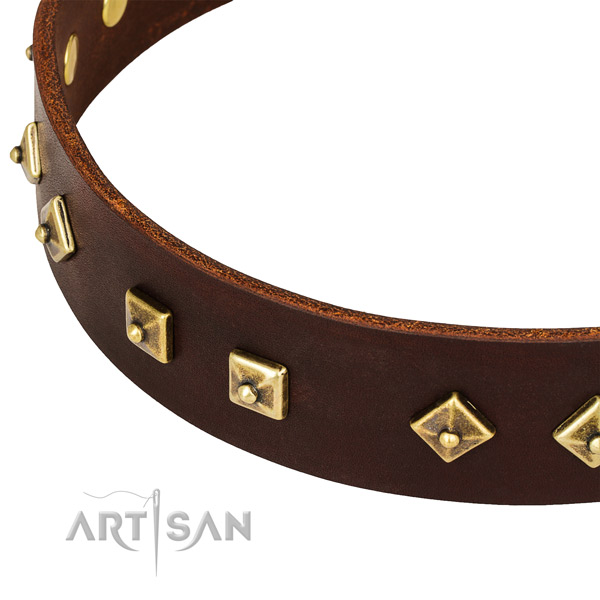 Adjustable full grain natural leather collar for your lovely pet
