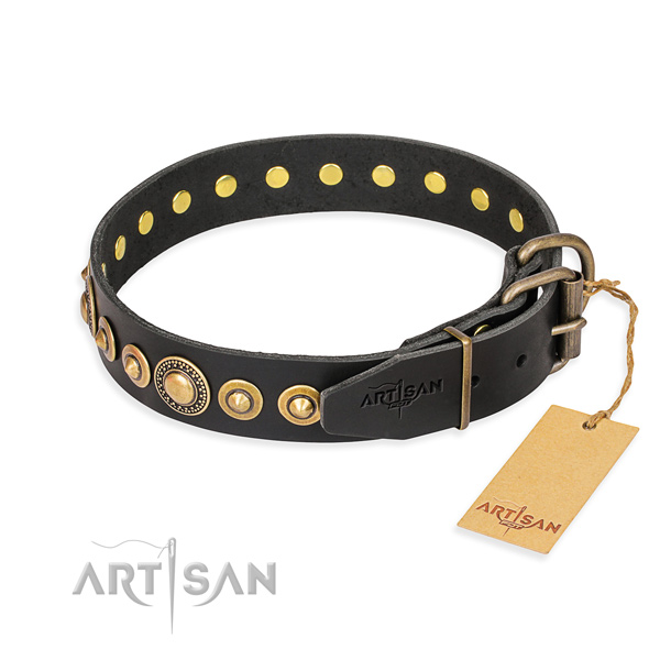 High quality full grain leather collar made for your canine