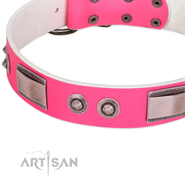 Fine quality full grain genuine leather collar with decorations for your pet