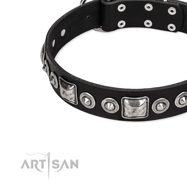 Full grain genuine leather dog collar made of soft material with studs