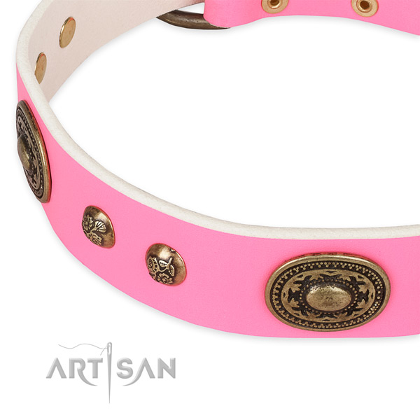Adjustable natural genuine leather collar for your attractive pet