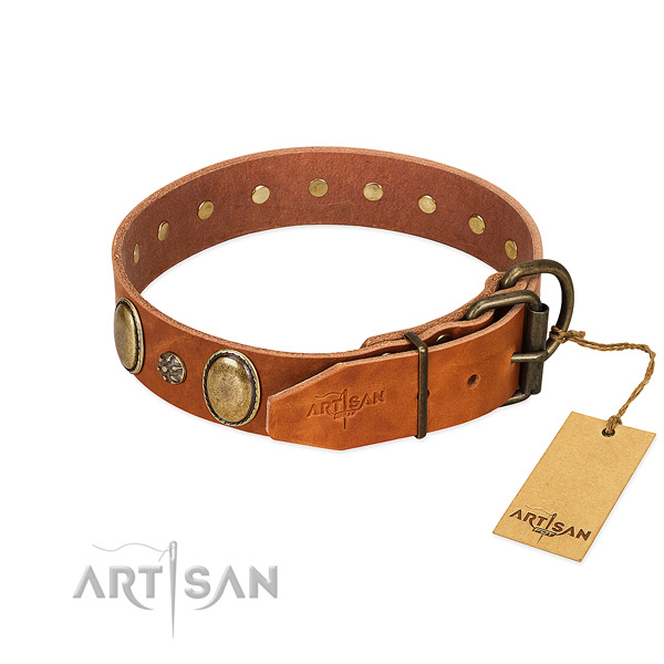 Handy use reliable leather dog collar