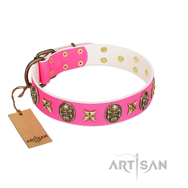 Leather dog collar with corrosion proof decorations