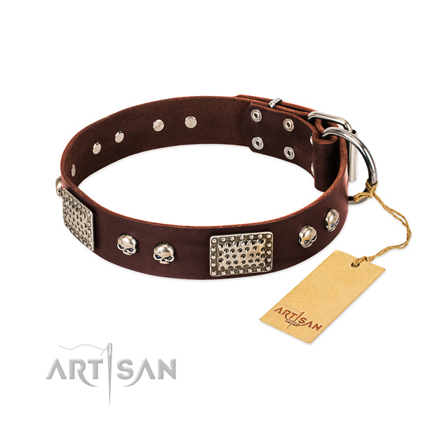 Adjustable full grain genuine leather dog collar for basic training your pet