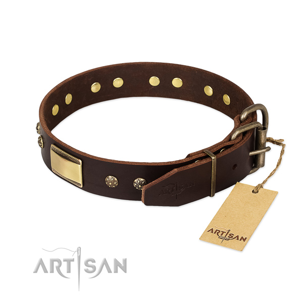 Adjustable full grain leather collar for your canine
