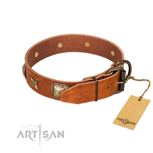 Natural genuine leather dog collar with rust resistant buckle and adornments