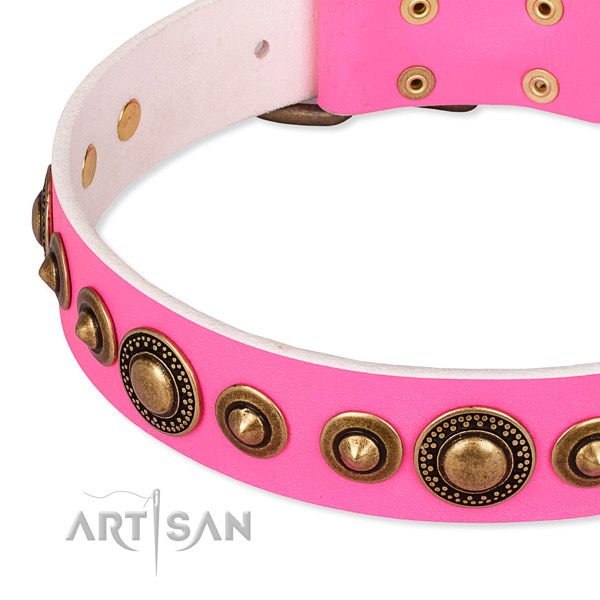 Flexible full grain natural leather dog collar handcrafted for your stylish pet