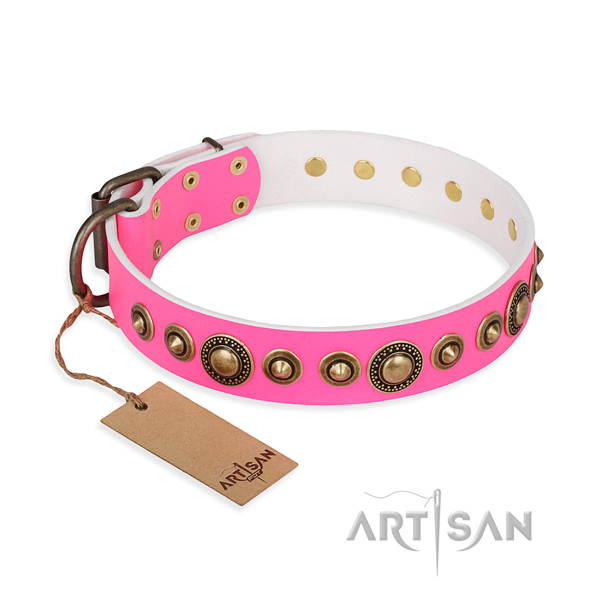 Flexible natural genuine leather collar made for your four-legged friend