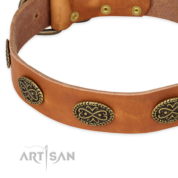Perfect fit full grain natural leather collar for your lovely dog