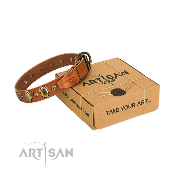Fine quality full grain genuine leather dog collar with durable D-ring