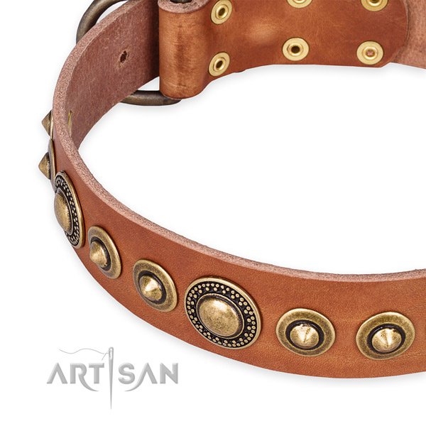 Gentle to touch leather dog collar handmade for your impressive pet
